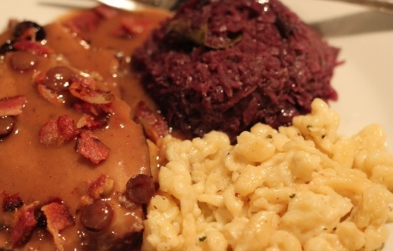Sauerbraten, red cabbage and spaetzle